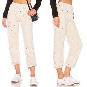 Wildfox Silver Foil Star Print Sweatpants